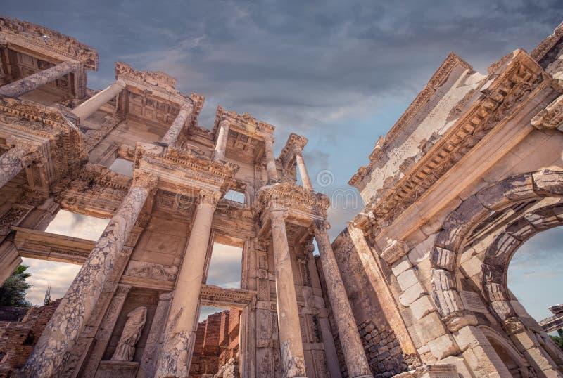 Bibliothèque de Celsus dans Ephesus, points de repère de la Turquie photo stock