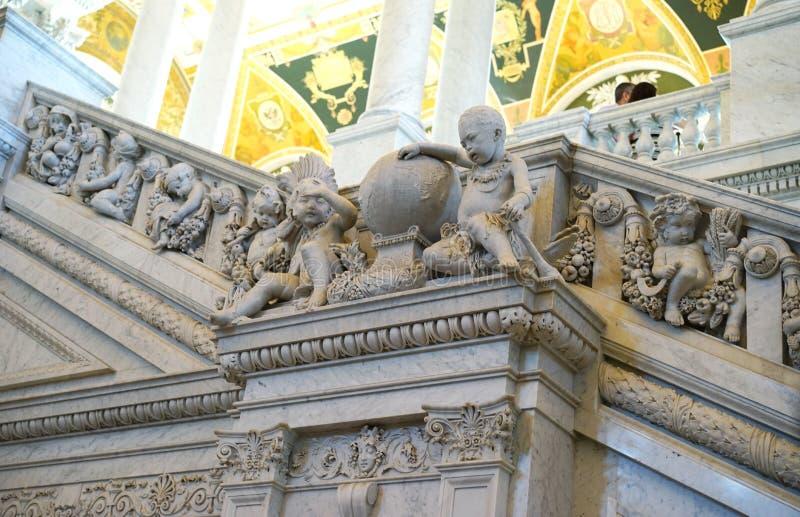 Bibliothèque du Congrès - sculptures en ange photo stock