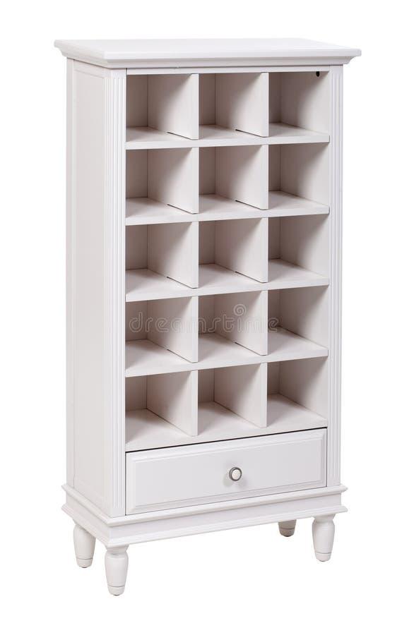 Bibliothèque en bois blanche vide au-dessus de blanc photo libre de droits