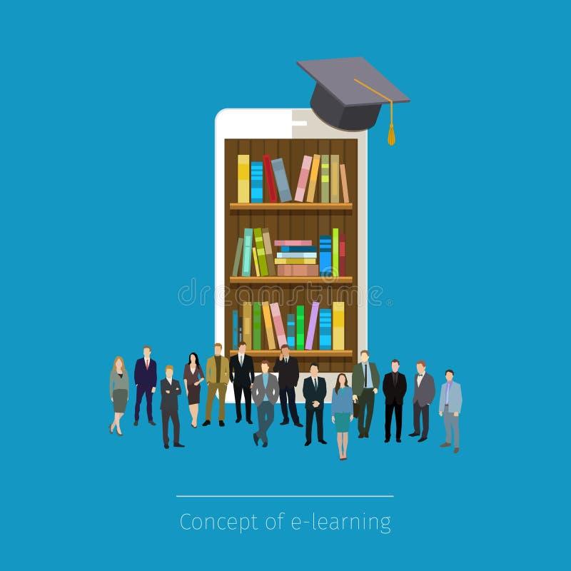Bibliothèque mobile en ligne dans le smartphone illustration libre de droits