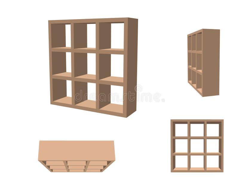Bibliothèque vide D'isolement sur le fond blanc illustra du vecteur 3d illustration stock