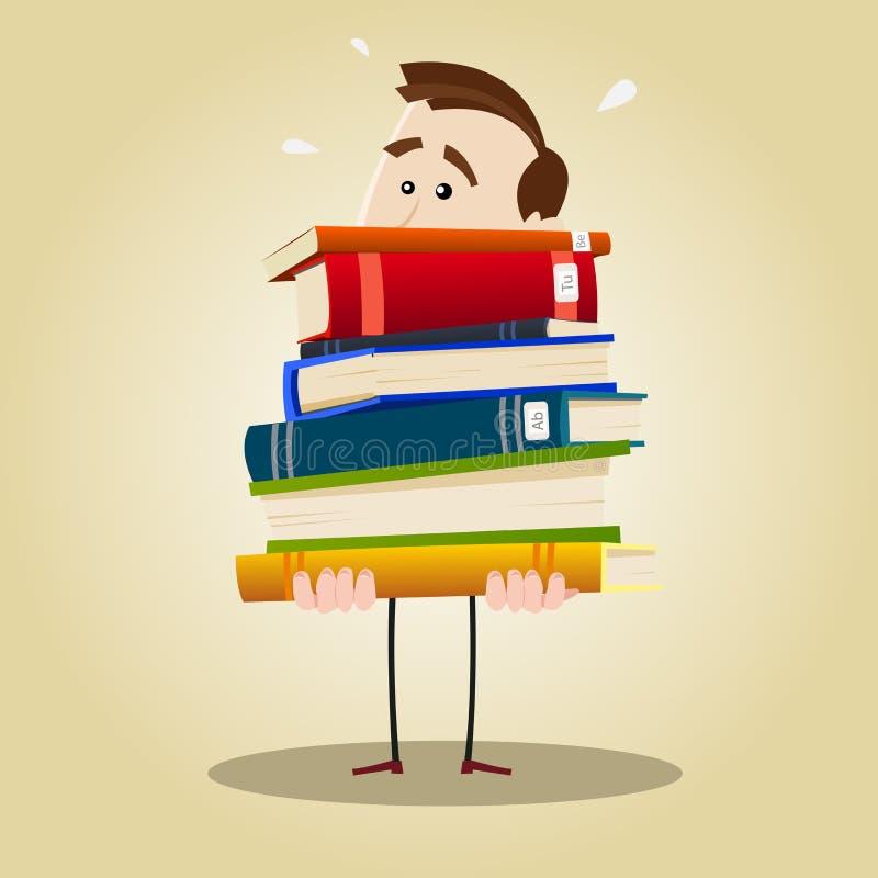 Bibliothécaire occupé illustration de vecteur