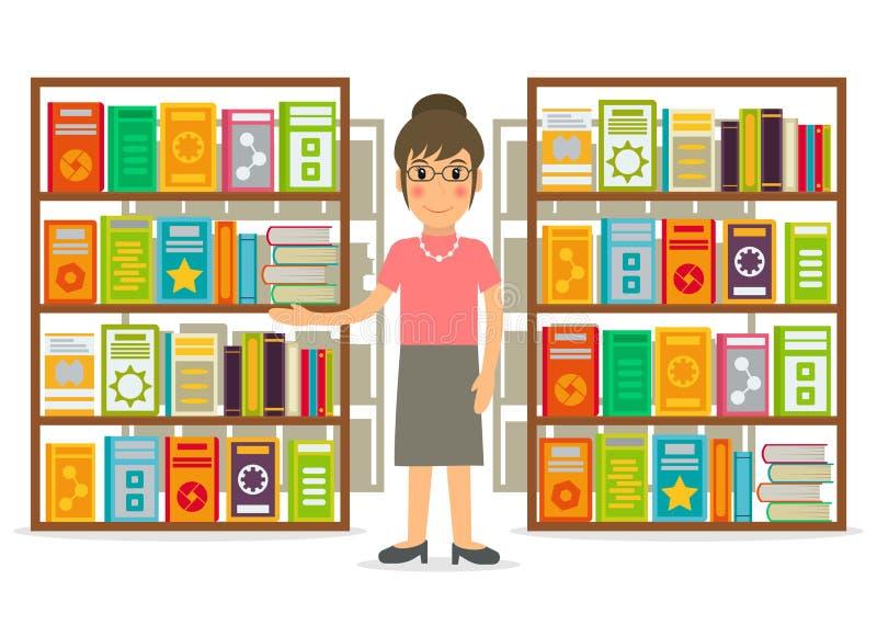 Bibliothécaire ou vendeur à la librairie illustration libre de droits