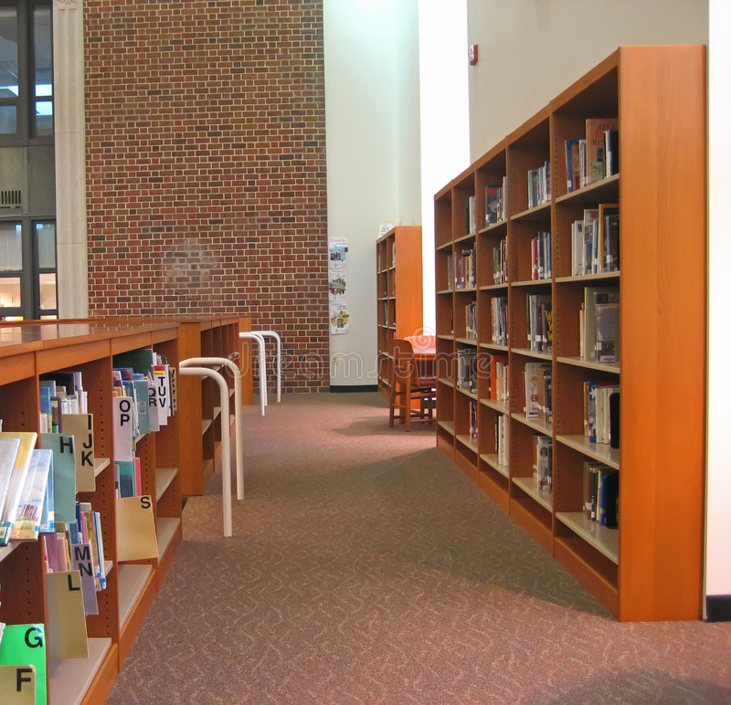 Bibliotheek 3 van de school stock afbeelding