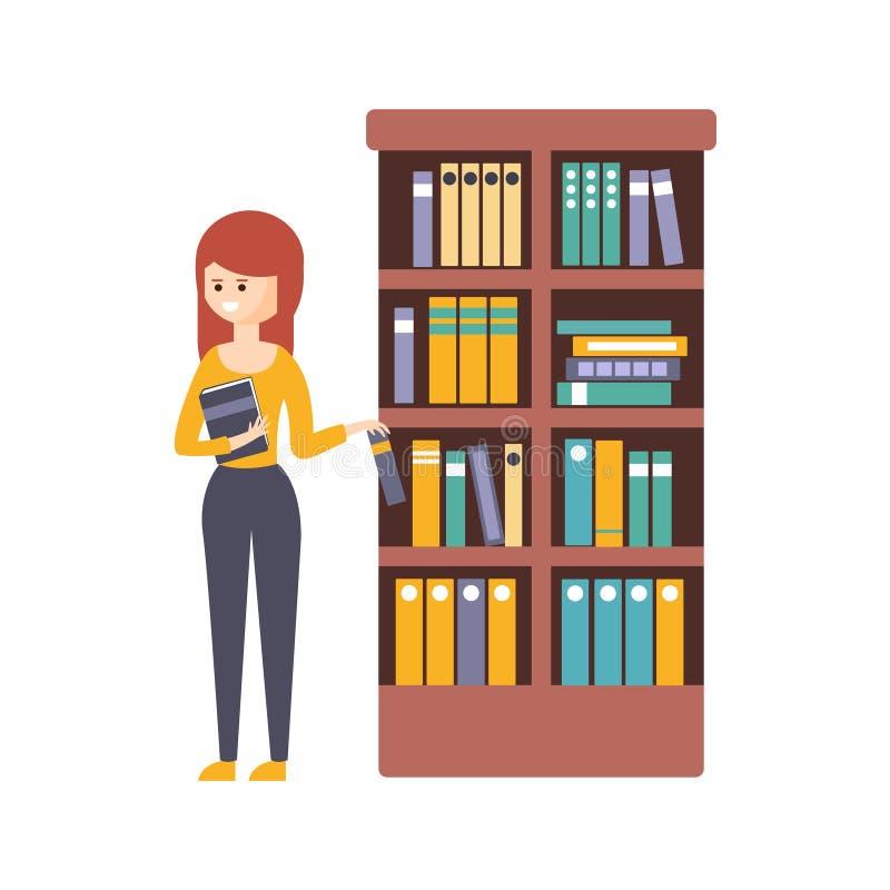 Bibliotheek of Boekhandel met Jonge Vrouw die een Te lezen Boek kiezen vector illustratie