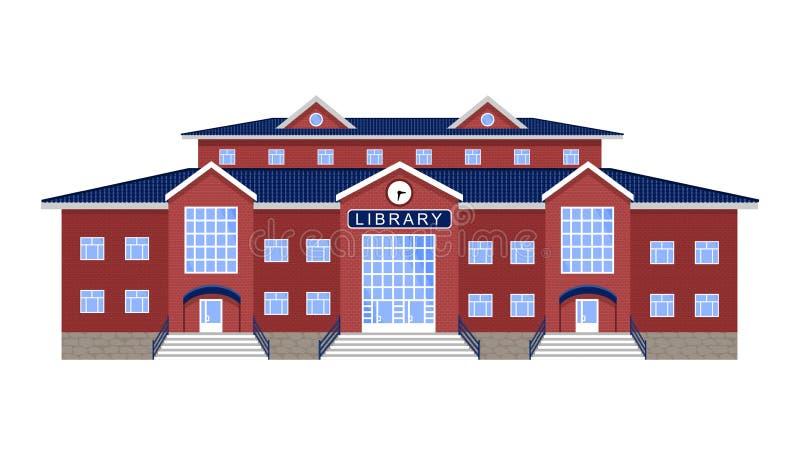 Bibliotheek, de geïsoleerde klassieke rode baksteenbouw royalty-vrije illustratie