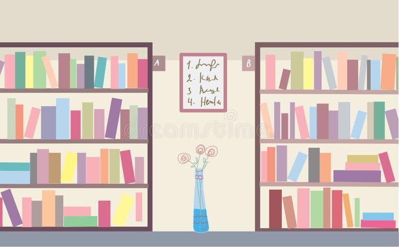 Bibliotheek met boekenrekken royalty-vrije illustratie
