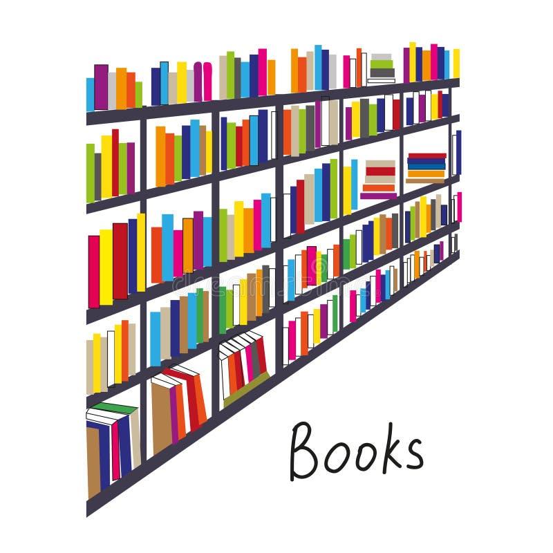 Bibliotheek met boekenrijen backcround voor de kaart of de dekking royalty-vrije illustratie