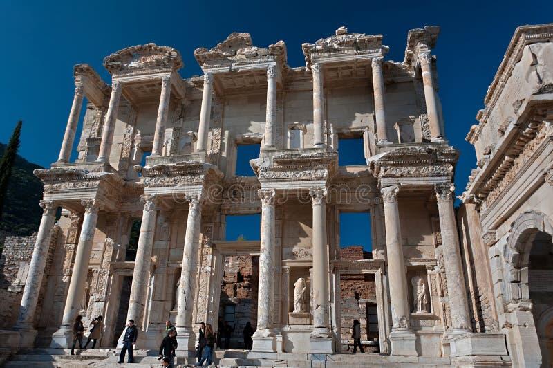 Bibliotheek van Celsus in Ephesus, Turkije royalty-vrije stock foto
