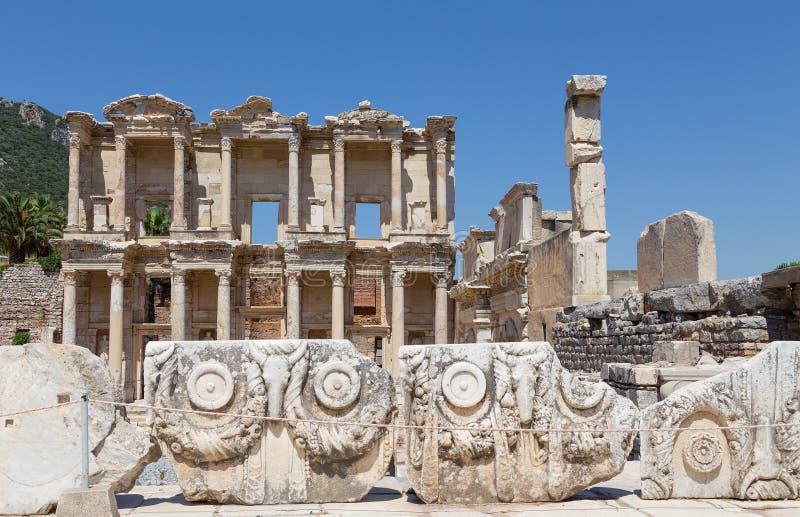 Bibliotheek van Celsus, Ephesus, Turkije royalty-vrije stock afbeelding