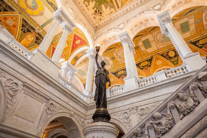 Bibliotheek van Congres, binnenlands van het gebouw, gelijkstroom royalty-vrije stock foto