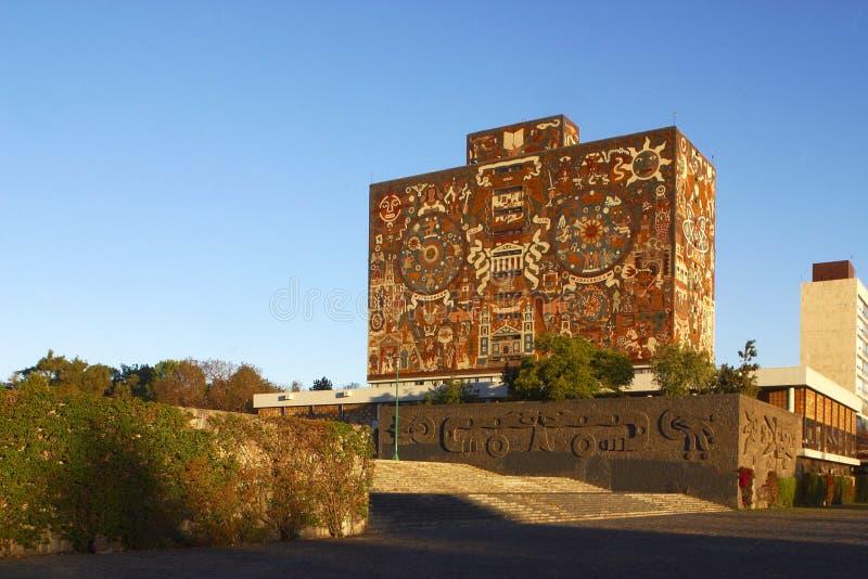 Bibliotheek van Nationale Universiteit van Mexico royalty-vrije stock foto's