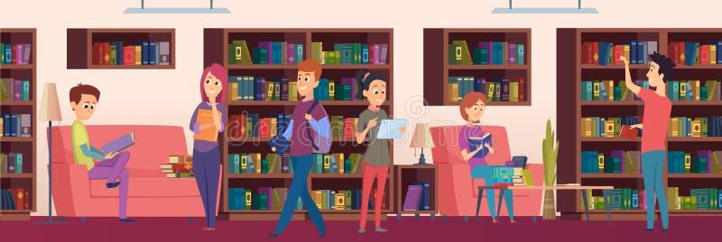 Bibliotheekachtergrond Jonge geitjesstudenten die boeken op de planken in illustraties van het biblioteca de vectorbeeldverhaal k vector illustratie