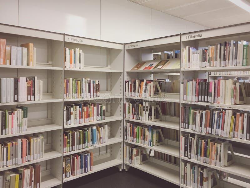 Bibliotheekbinnenland stock afbeeldingen