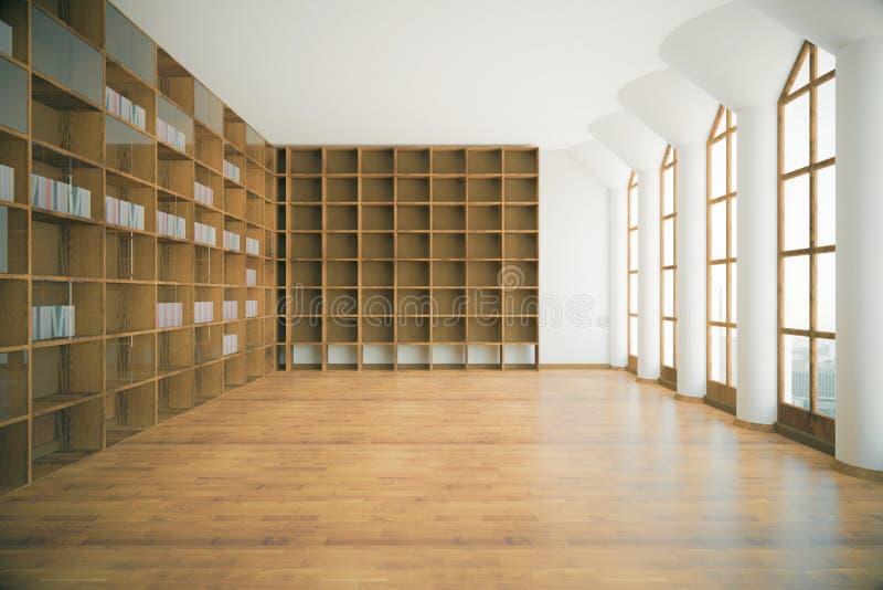 Bibliotheekbinnenland met lege planken stock illustratie