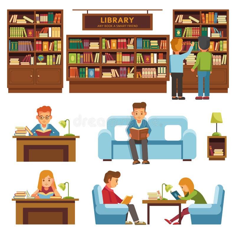 Bibliotheekboeken en mensen die in boekhandel vector vlak ontwerp lezen vector illustratie