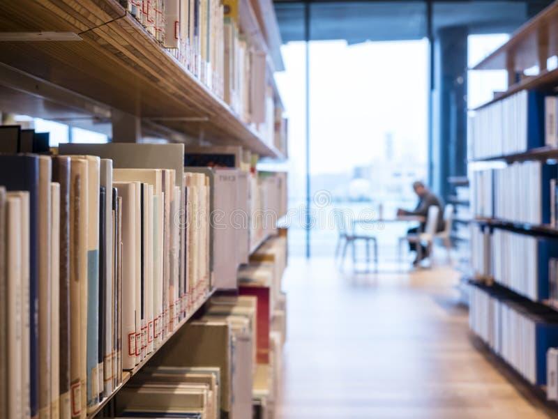 Bibliotheekboekenplank met mensen die Binnenlands Onderwijs lezen stock foto's