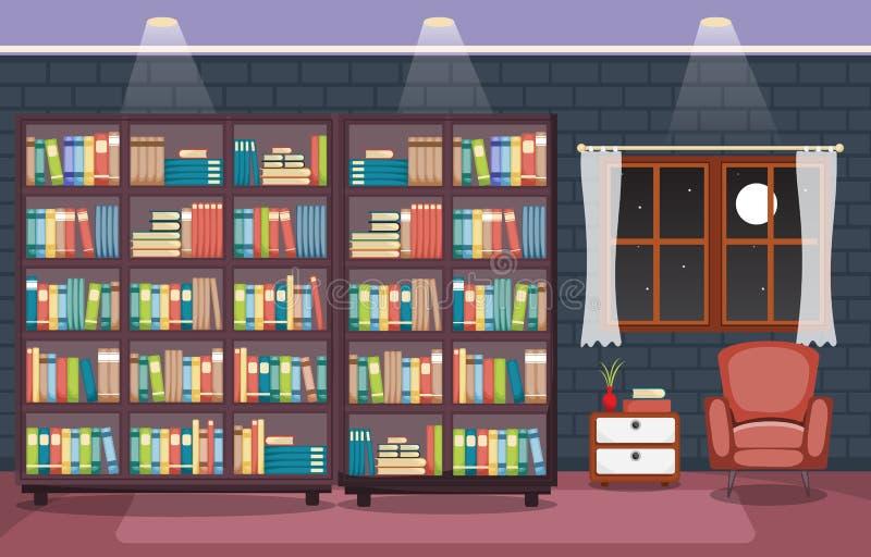 Bibliotheekzaal Binnenlandse Stapel van Boek op Boekenrek Vlak Ontwerp stock illustratie