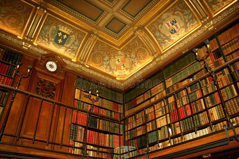 Bibliothek im Chateaude Chantilly, Frankreich lizenzfreie stockfotos