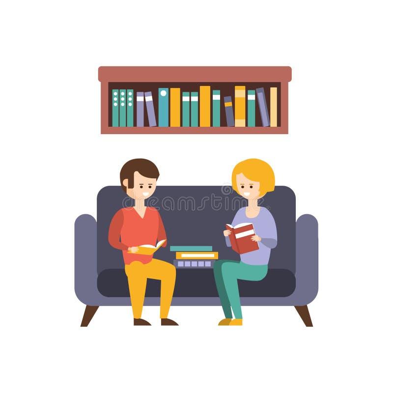 Bibliothek oder Buchhandlung mit Leute-Lesebüchern auf dem Sofa lizenzfreie abbildung