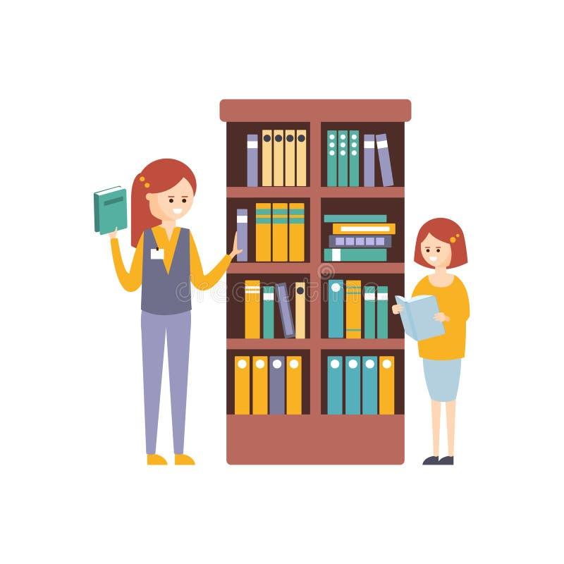 Bibliothek oder Buchhandlung mit mit zwei Mädchen, die Bücher auf Bücherregal wählen lizenzfreie abbildung