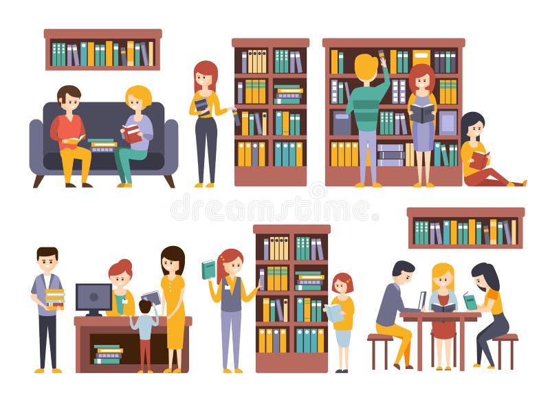 Bibliothek und Buchhandlung mit den Leuten, die Bücher wählend lesen vektor abbildung