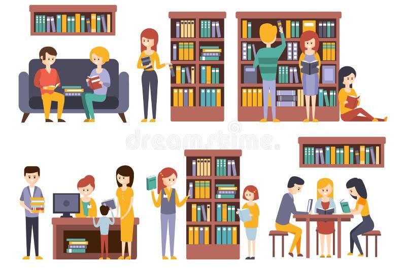 Bibliothek und Buchhandlung mit den Leuten, die B?cher w?hlend lesen lizenzfreie abbildung