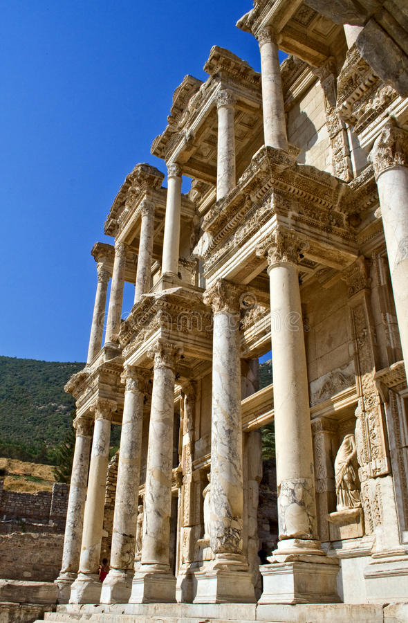 Bibliothek von Celsus lizenzfreie stockfotos