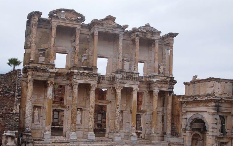 Bibliothek von Celsus, Ephesus, die Türkei lizenzfreie stockbilder