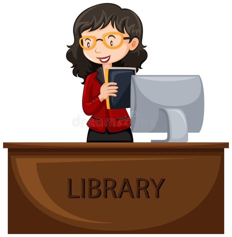 Bibliothekar, der am Schreibtisch arbeitet vektor abbildung