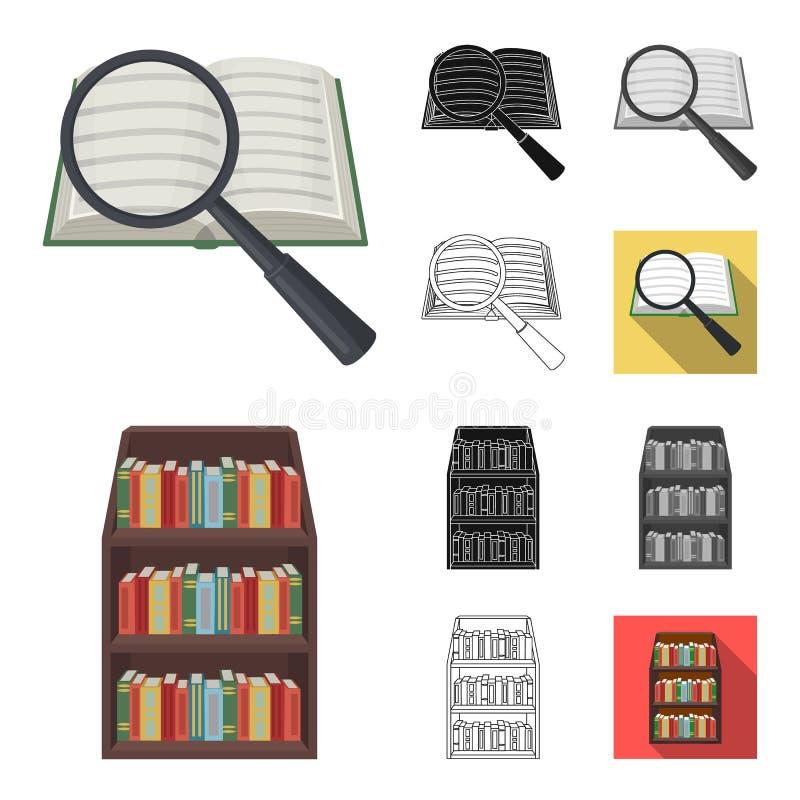 Bibliotheks- und Buchhandlungskarikatur, Schwarzes, flach, einfarbig, Entwurfsikonen in der Satzsammlung für Design Bücher und Ei lizenzfreie abbildung