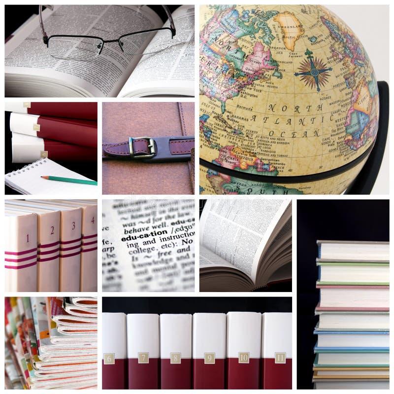 Bibliothekscollage lizenzfreie stockfotografie