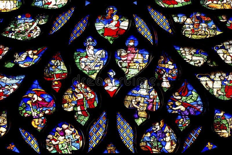 Biblische Geschichten Rose Window Stained Glass Sainte Chapelle Paris France stockfotografie