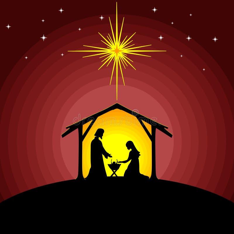 Biblische Illustration Mädchen, das an Geschenke für Weihnachten denkt Mary und Joseph mit dem Baby Jesus Krippe nahe der Stadt v vektor abbildung