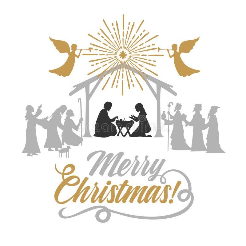 Biblische Illustration Mädchen, das an Geschenke für Weihnachten denkt Mary und Joseph mit dem Baby Jesus Krippe nahe der Stadt v stock abbildung