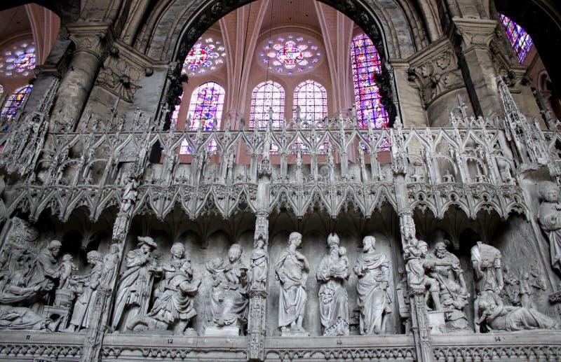Biblische Szenen in den Skulpturen, Chartres-Kathedrale stockfotos