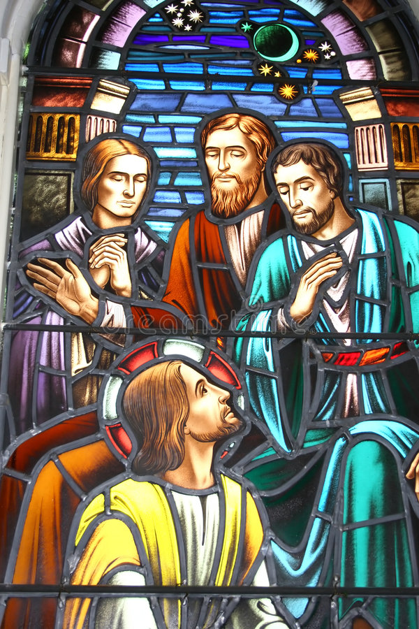 Biblisches Buntglas stockfotos