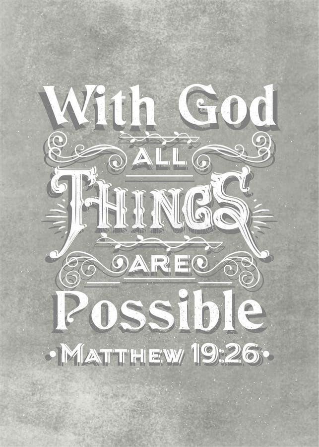 Biblisk grå åldrig texturbakgrund med vektorhandbokstäver med guden all saker är möjlig stock illustrationer