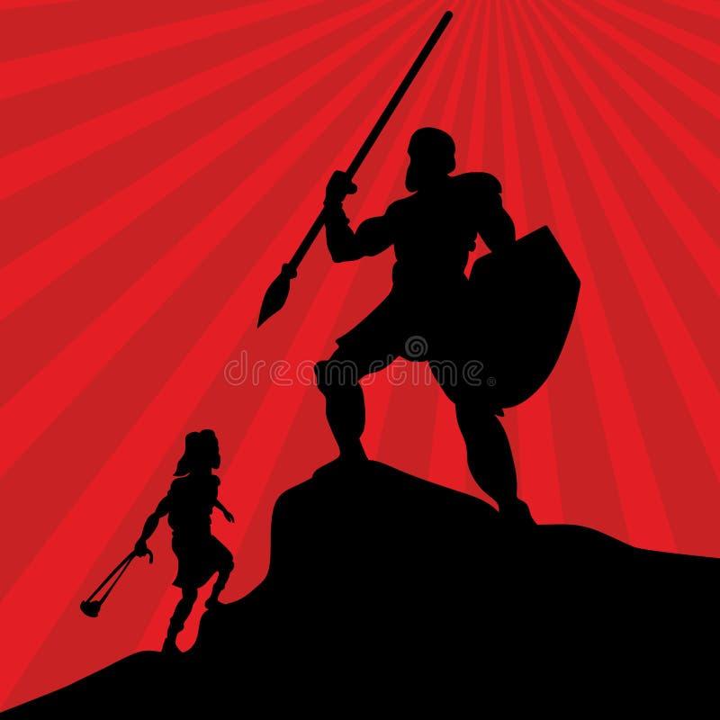 Biblisk illustration David gick ut att slåss mot den jätte- kolossen stock illustrationer