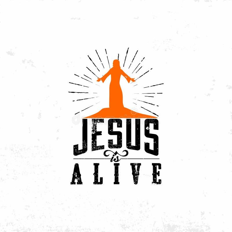 Biblisk illustration Jesus är vid liv Påsk vektor illustrationer