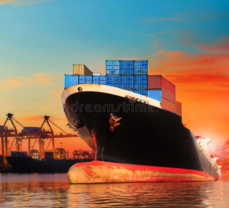bic commercial ship in import,export pier use for vessel transport business industry and cargo ,freight ,shipping port stock image