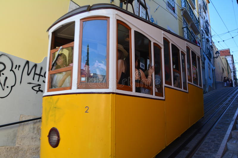 Bica Yellow Tram Lisbon Portugal stock photography