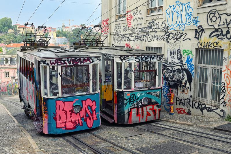 Bica tram in Lisbon Portugal stock photo