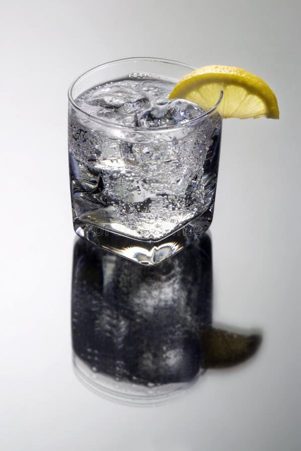 Bicarbonate de soude de club ou tonique de genièvre/vodka sur un fond gris photos stock
