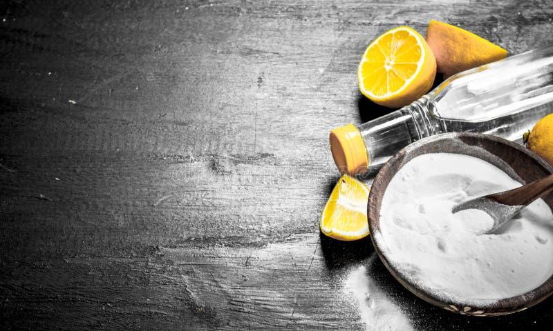 Bicarbonato de sódio em uma bacia com fatias do vinagre e do limão imagens de stock royalty free