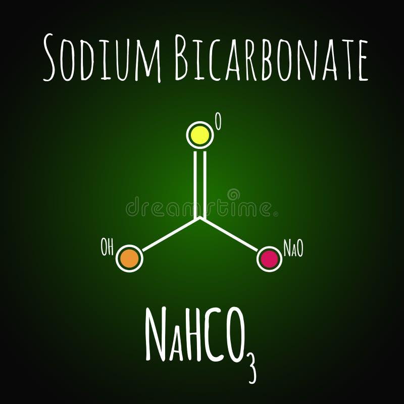 Bicarbonato de sodio o bicarbonato de sosa, estructura qu?mica F?rmula esquel?tica ilustración del vector