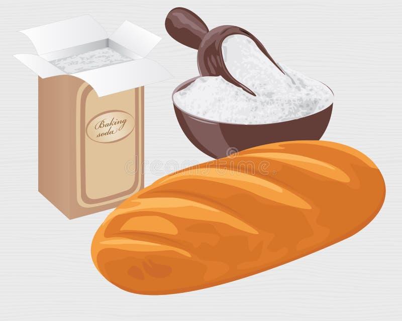 Bicarbonato de sosa en una bolsa de papel, cuenco y un pan del pan del trigo libre illustration
