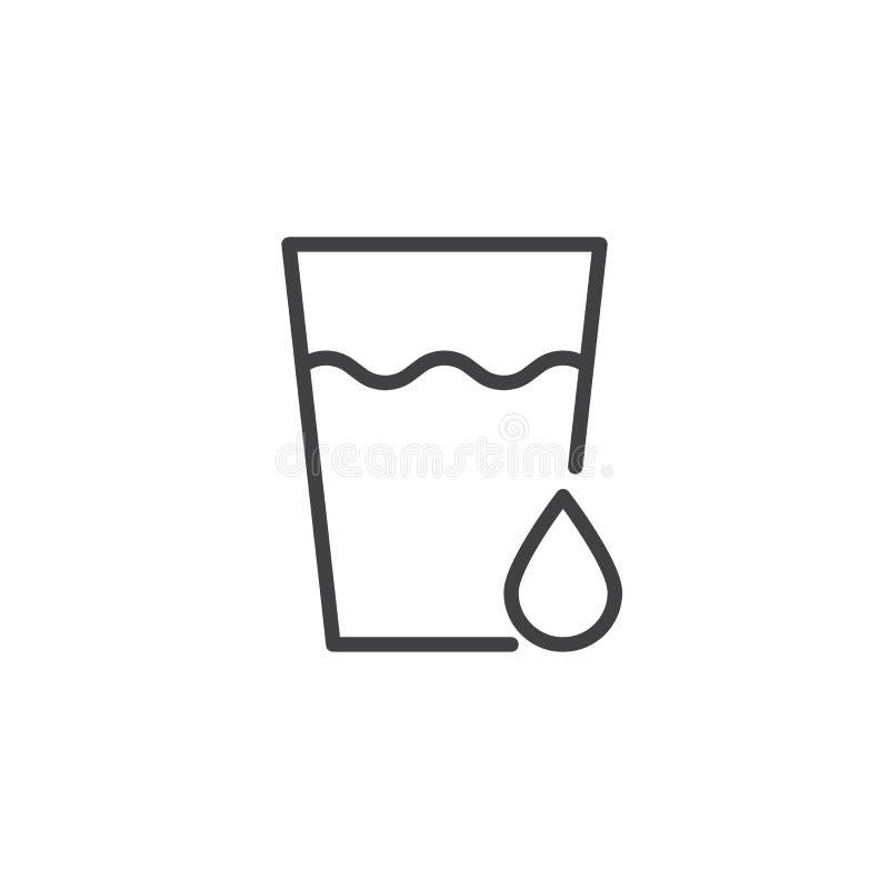 Bicchiere d'acqua con l'icona del profilo di goccia royalty illustrazione gratis