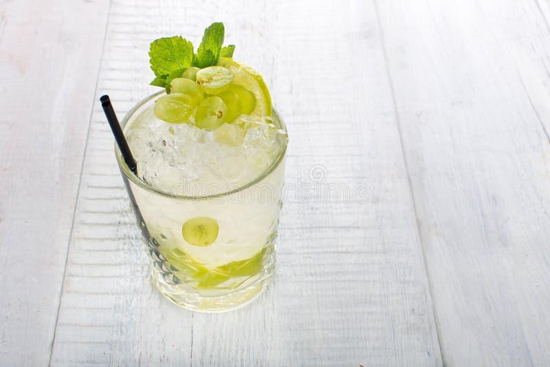 Bicchiere d'acqua con l'uva ed il ghiaccio fotografia stock libera da diritti
