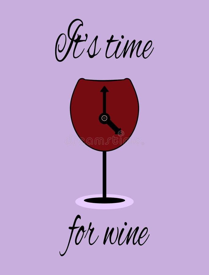 Bicchiere di vino con le frecce ed il testo è tempo per vino Logo, manifesto, aletta di filatoio illustrazione di stock